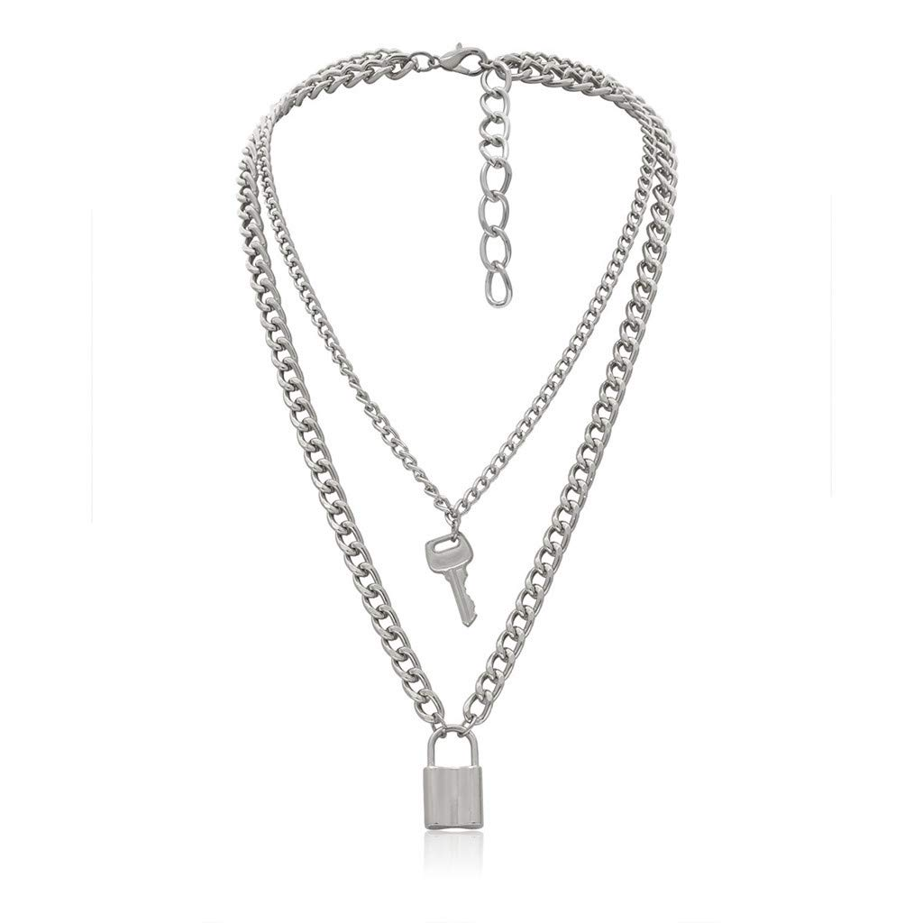 Lock Key Pendant Necklace FunDiscount 2020 Unisex Layered Key Padlock Charm Necklaces Statement Long Clavicle Chain Punk Multilayer Choker Necklace for Women Femal Men Boys Girls