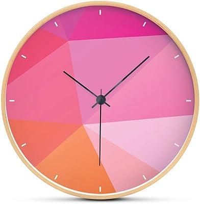 Yomioak Creative Wall Clock Living Room Bedroom Home Wood Quartz Clock Pink 12 inches