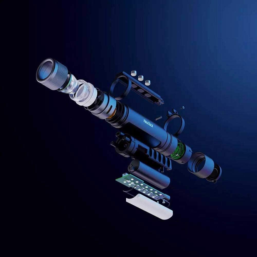 MIJIA NexTool Outdoor Torch 6 en 1 Design 1000 Lumen Alimentation durgence Stroboscopique Lampe de poche LED rechargeable Bip puissant de lumi/ère rouge blanche pour le coffre-fort personnel