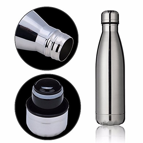 SuperStores Colors Outdoor Water Bottle Bowling Shaped Stainless Steel Vacuum Cup Coke Bottle Dual Hot and Cold Vacuum Insulation (silver)