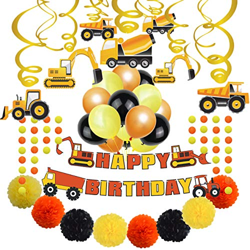 My Party Time Construction Party Supplies Happy Birthday Party Decorations(Construction Theme) -
