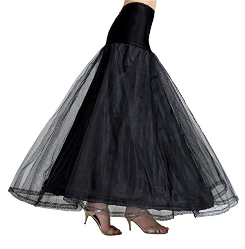 (BEAUTELICATE A-line Full Gown Floor-Length Bridal Dress Gown Slip Petticoat (XXL Fits US(18W-20W), Black))