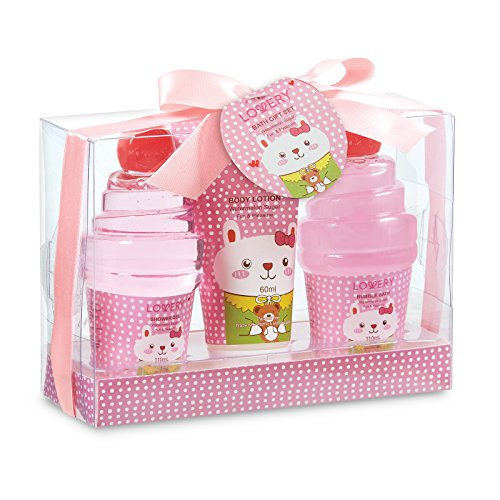 Holiday Gift Set - Kids Bubble Bath Spa Gift Set with Heavenly Watermelon Fragrance, Includes Shower Gel, Bubble Bath and Body Lotion - Safe and Natural Watermelon Fragrance Bath Set for Girls