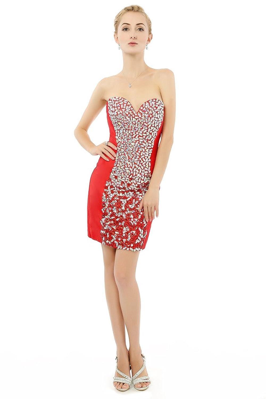 HONGFUYU Women's Sexy Sweetheart Rhinestones Bodycon Mini Party Cocktail Dress