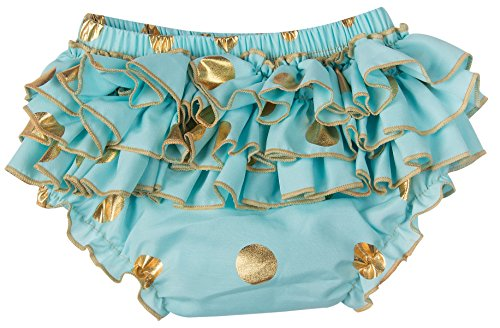 Ruffle Brief - Messy Code Baby Bloomers Training Pants Girls Underwear Ruffle Diaper Cover Gold Dot Briefs for Toddlers Mint S(6-12Months)