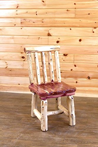 Dining Room Made Amish Furniture - Red Cedar Log Dining Room Spindle Back Chairs - Amish Made in USA