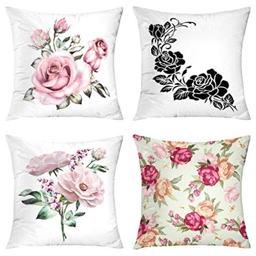 KJONG Vintage Rose Flower Elements Decorative Throw Pillow Covers, 18 x 18 inch Set of 4 Square Double Sided Printing Cushion Cover Sofa Living Room Bedroom