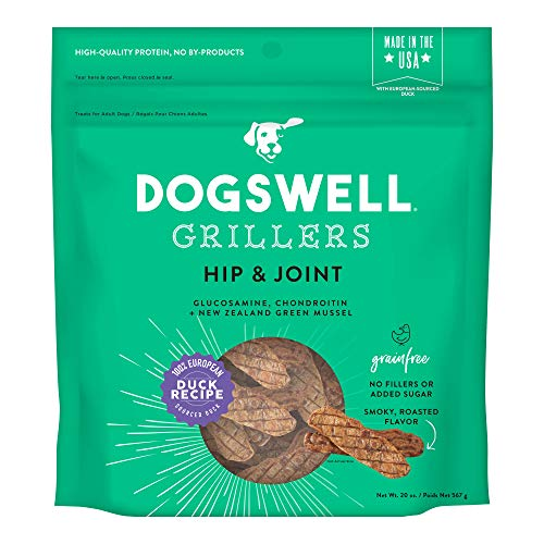 DOGSWELL Hip & Joint Grain Free Dog Treats, 100% Meat Glucosamine Chondroitin & Omega 3, Duck Grillers 20 oz