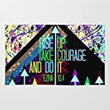 Society6 RISE UP TAKE COURAGE AND DO IT Colorful Geometric Floral Abstract Painting Christian Bible Scripture Rug 4' x 6'