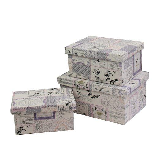 JVL Set Of 3 Purple Rectangular Vintage Fabric Storage Boxes With Lids:  Amazon.co.uk: Kitchen U0026 Home
