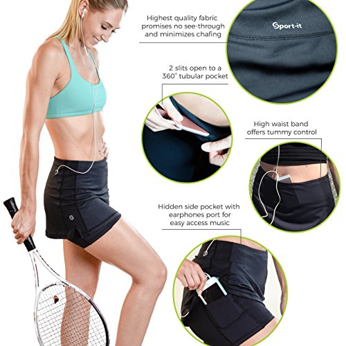 Sport it Black Tennis Skort, Running Skirt Shorts With Pockets, High Waisted Ladies Golf Skorts With Tummy Control, Skirted Shorts