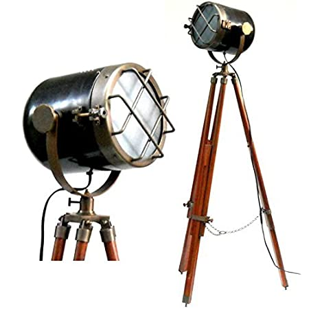 Antique marine ship searchlight nautical floor lamp double tone antique marine ship searchlight nautical floor lamp double tone finish brown tripod aloadofball Images