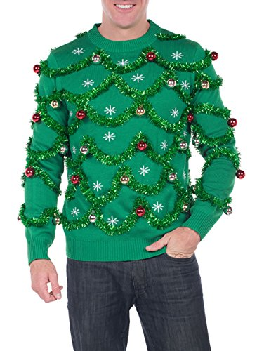 Christmas Ugly Sweaters - Men's Gaudy Garland Sweater - Green Tacky Christmas Sweater with Ornaments: X-Large