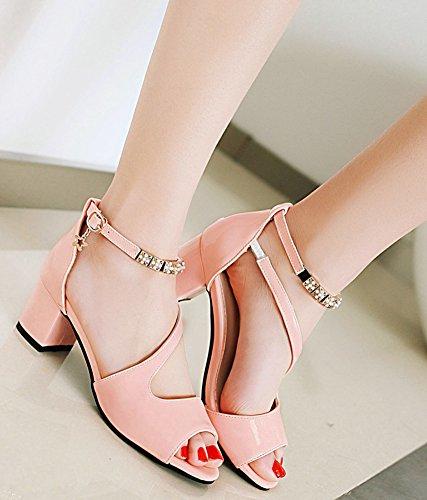 Aisun Women's Daily Ankle Strap Beaded Peep Toe Sandals Pink OCzWx