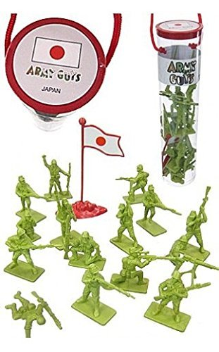 WWII Japanese Infantry with Flag World at War Toy Soldiers Series Plastic Army Men Figures 1/32 Scale 17 Pieces with Reusable Tube Storage from Army