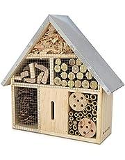 Navaris casetta per Insetti in Legno - rifugio Ecologico per Farfalle vespe api coleotteri 24,5x28x7,5cm M Nido Tetto in Metallo - Materiali Naturali