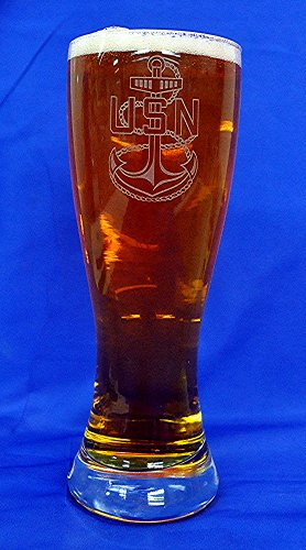 Custom Etched Navy CPO E-7 Crest on 23 oz Pilsner Glass Set of 2 ()