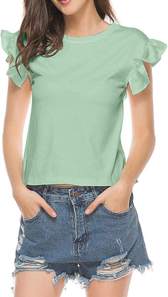 Qingsiy Mujeres Verano Camisetas Pullover Casual Camisa Sexy Sin Respaldo De Manga Corta Cuello O Blusa con Volantes Tops Primavera Blusa Fiesta Mujer Carnaval Camisa: Amazon.es: Ropa y accesorios
