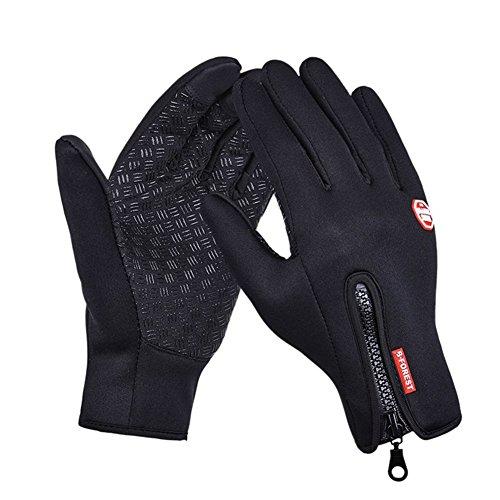 HONTECH Winter Cycling Gloves, Waterproof Touchscreen Full Finger Outdoor Ski Gloves Adjustable Size (M, Black) (Adjustable Gloves)