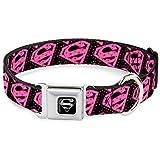 Buckle Down Seatbelt Buckle Dog Collar - Diagonal Superman Logo w/Hearts Black/Pink - 1.5'' Wide - Fits 16-23'' Neck - Medium