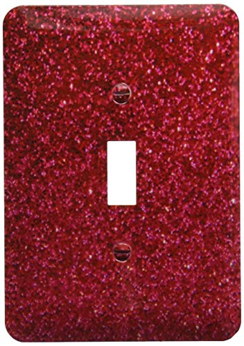 3dRose lsp_112927_1 Red Faux Glitter Photo of Glittery Texture Glam Matte Sparkly Bling Glam Bold Stylish Girly Light Switch Cover