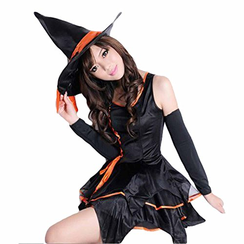 Halloween Concepts Womens Orange and Green Witch Costume(Suitable for waist less than 29 inch)