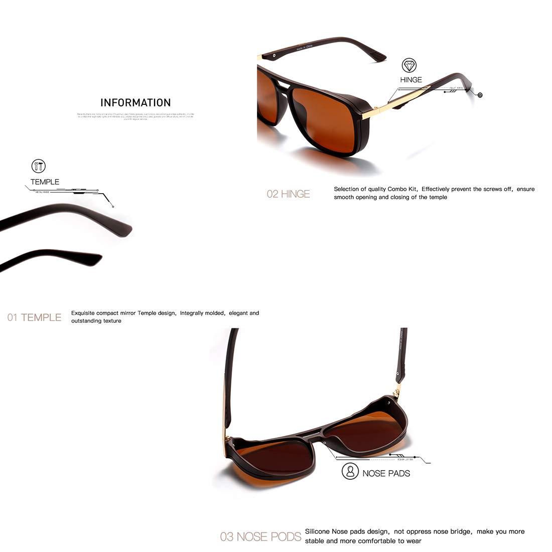 040547a6beb Kimorn Polarized Sunglasses For Men Square Frame Unisex Outdoor Sports  Goggle Classic K0623 (Brown)  Amazon.co.uk  Clothing