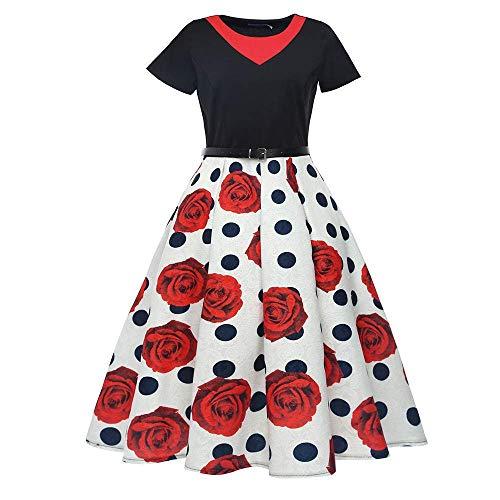 Dimensione Floreale Elegante Hepburn Stampa T Medium Casual Da Abiti colore Spiaggia Donna shirt Mini Abito Con Yingsssq Red1 Vita Cravatta Tunica Vintage wIxXROtw