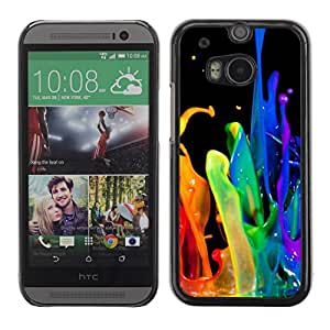 FECELL CITY // Duro Aluminio Pegatina PC Caso decorativo Funda Carcasa de Protección para HTC One M8 // Dynamic Drop Rainbow Black Gay