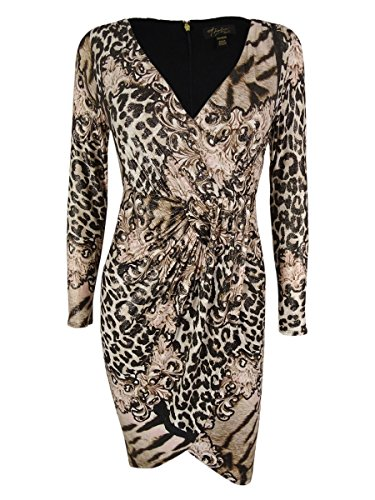 Thalia Sodi Womens Animal Print Faux Wrap Cocktail Dress Multi XL (Animal Print Cocktail Dress)