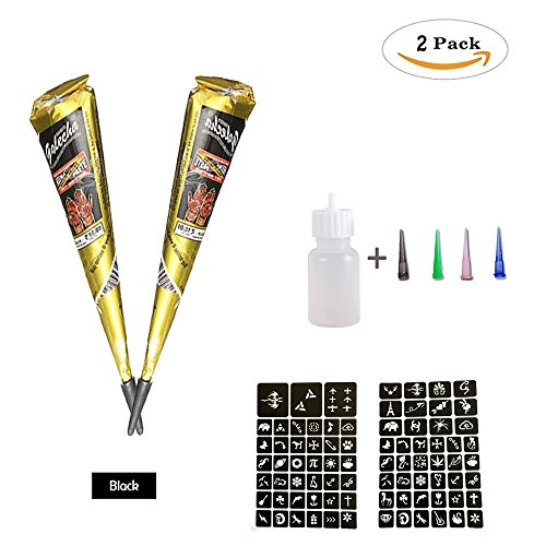 Temporary Tattoo Kit henna Paste Cone Black Body Art Painting Drawing for woman man kids with 81 x adhesive Stencil, 1 x Applicator Bottle and 4 x Plastic Nozzle