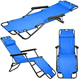 New Folding Chaise Lounge Chair Patio Beach Recliner | Outdoor Pool Camping Sunbathing | Blue Review