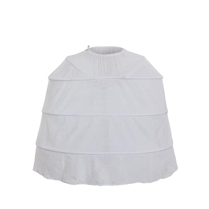 Cosplayitem Mujeres Vendimia Enagua Largo para Vestido Rococó Victoriano Medieval Vestir, Cintura Ajustable Blanco (