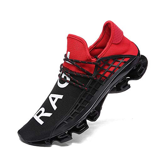 XIDISO Men Running Shoes Stylish Sneakers Mens Fashion Casual Walking Shoes Outdoor Running Blade Sneakers ... Red