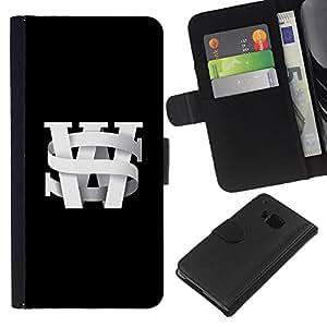 Planetar® Modelo colorido cuero carpeta tirón caso cubierta piel Holster Funda protección HTC One M7 ( S W Initials Black University Black Text )