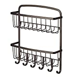 InterDesign York Lyra 2-Tier Mail Holder and Key Rack Organizer – Wall Mounted Letter Shelves and Key Hooks, Bronze