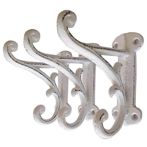 Set of 3 Rustic White, Cast Iron, Double Wall Mounted Hooks with mounting screws, Vintage Inspired, Perfect for Coats, Bags, Hats, Towels, Scarfs and more by My Fancy Farmhouse (Ornate, Rustic White) (Ornate Charm)