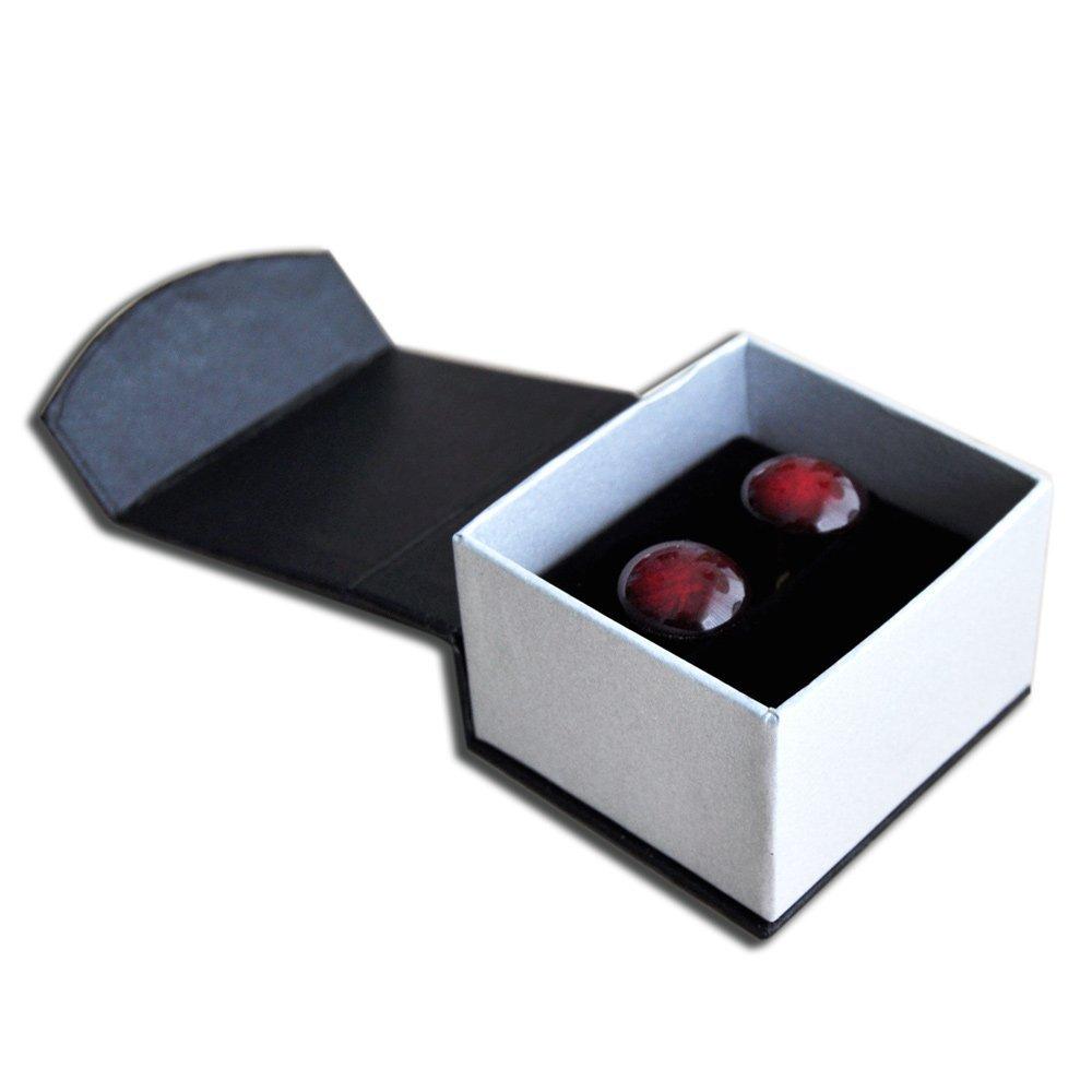 Boutons de manchette homme en v/éritable verre de Murano rond rouge craquel/é