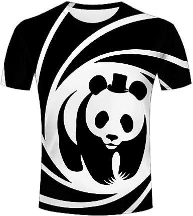 T-Shirts Hombre Panda Blanca Negra Moda Carta Casual Impresa ...