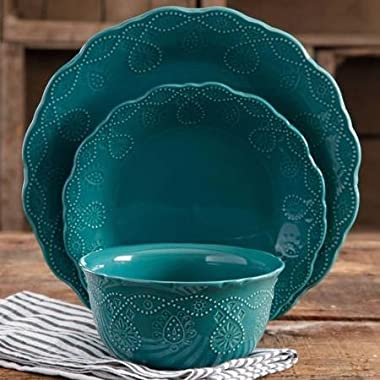The Pioneer Woman Cowgirl Lace Teal 12-Piece Dinnerware Set, Microwave and Dishwasher Safe