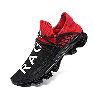 XIDISO Men Running Shoes Stylish Sneakers Mens Fashion Casual Walking Shoes Outdoor Running Blade Sneakers … Red