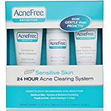 AcneFree 3 Step Acne Treatment Kit for Sensitive Skin with Salicylic Acid Acne Face Wash, Alcohol-Free Toner, and Benzoyl Peroxide Lotion for Acne Spot Treatment (60 Day)