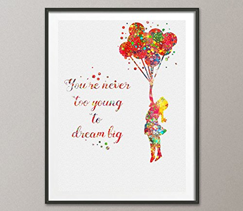 (Banksy Balloon Girl Watercolor Painting Art Print Wall Art Poster Giclee Wall Decor Art Wall Hanging Home Decor Inspirational)