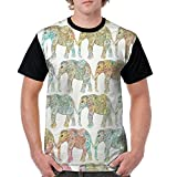 Puppylol Ethnic Floral Elephants Pattern Men's Comfort Raglan Short Sleeve Baseball Tees