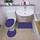 iPrint Pattern,USA,United States of America Theme Federal Holiday Celebration Revolution Design Decorative,Dark Blue Red White,Bath mat Set Round-Shaped Toilet Mat Area Rug Toilet Lid Covers 3PCS