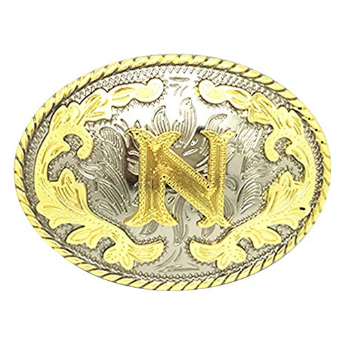 Unisex Adult Alphabet Letter Oval Western Belt Buckle (One Size, Golden(N)) ()