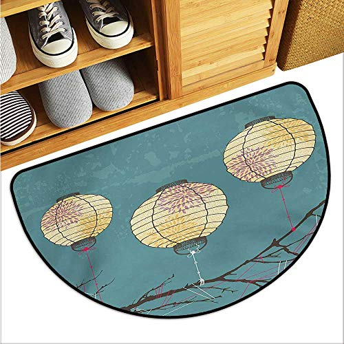 (warmfamily Lantern Outdoor Door mat Three Paper Lanterns Hanging on Branches Lighting Fixture Source Lamp Boho Easy to Clean W23 x L15 Teal Pale Yellow)