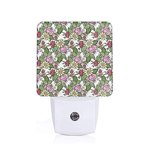 Colorful Plug in Night,Pastel Toned Lily Dahlia Frangipani Bouquet Essence of Nature Pattern,Auto Sensor LED Dusk to Dawn Night Light Plug in Indoor for Childs Adults