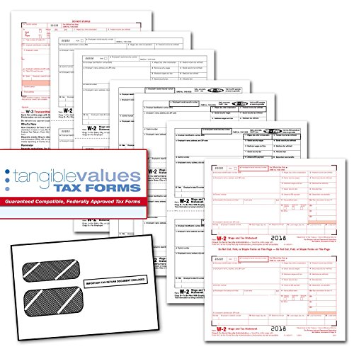 Tangible Values W-2 Laser Forms (6-Part) Kit with Envelopes for 25 Employees (2018) by Tangible Values