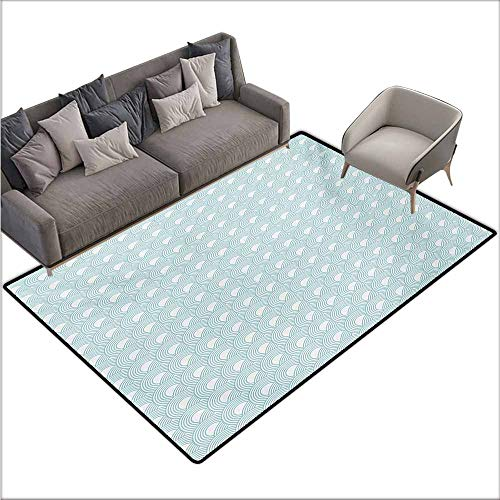 (Bath Rug Slip White Nested Overlapping Circles Abstract Rising Sun Theme in Cold Colors Serenity Durable W70 xL94 Pale Blue White)
